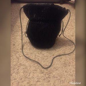 Handbags - Beaded Black Draw String Pouch /bag /purse